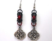 Celtic knot earrings, Byzantine chainmaille weave, Irish jewelry, Red and black