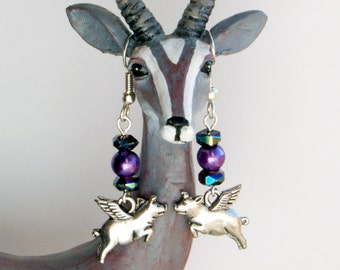 Flying Pig Purple Pierced Earrings, Pigs with Wings Flying under the Night Sky Earrings, When Pigs Fly Dangle Earrings, Pigasus Earrings