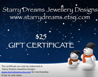 Jewellery Gift Certificate Twenty Five Dollars