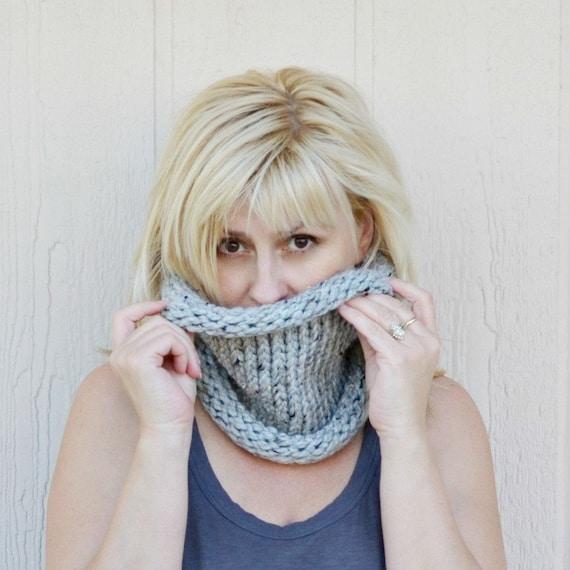 Chunky cowl gray hand knit scarf neckwarmer gift for her gift for friend Christmas gift under 30 bulky cowl handmade gift