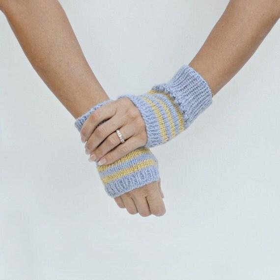Wrist warmers gray yellow stripes hand knit