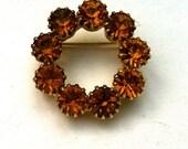 Vintage Topaz  Rhinestone Brooch Pin Assemblage Bridal Bouquet
