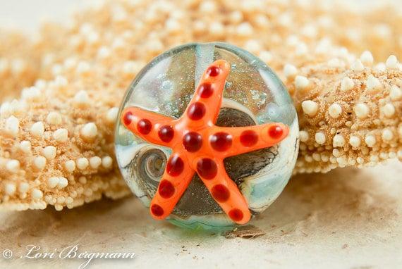 Lampwork Focal Bead, Orange Starfish, Beach Glass, Tide Pool, SRA Handmade