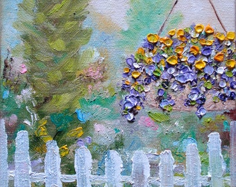 Oil painting flowers garden white picket fence gate landscape basket whimsical whimsy paintings home house decor art USA 6x6 - Garden Gate