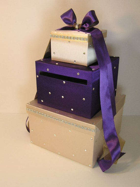 Wedding Card Box White and Purple Gift Card Box by bwithustudio