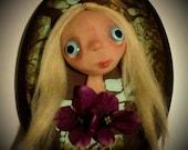 Birdie wall art doll bust by Jenice Grimes