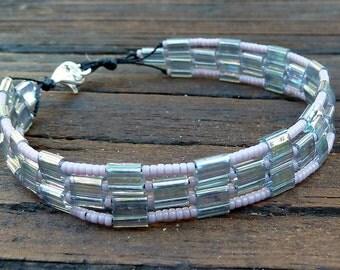 CLEARANCE - Lavender Tile Bracelet - Purple Glass Seed Beads, Rainbow Glass Tiles, Geometric Pattern Bracelet
