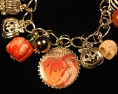 Stone Pumpkin Charm Bracelet , Halloween Charm Bracelet , Classic Halloween Greetings Charm Bracelet , Vintage Halloween
