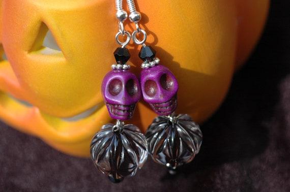 Purple Skull Halloween Earrings Day of the Dead Earrings