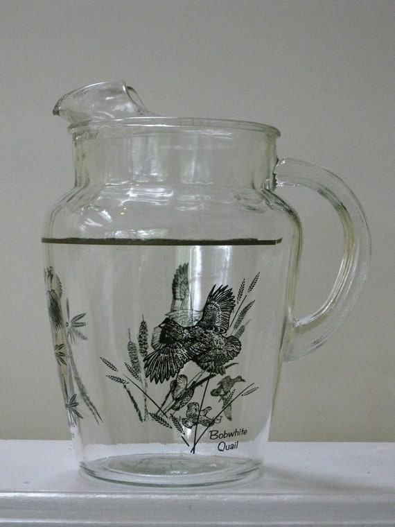 RESERVED for Vicki Vintage Glass Pitcher  Black Bird Graphics Bob White Quail Ring Necked Pheasant Black Ducks Mid Century Sportsmen Barware