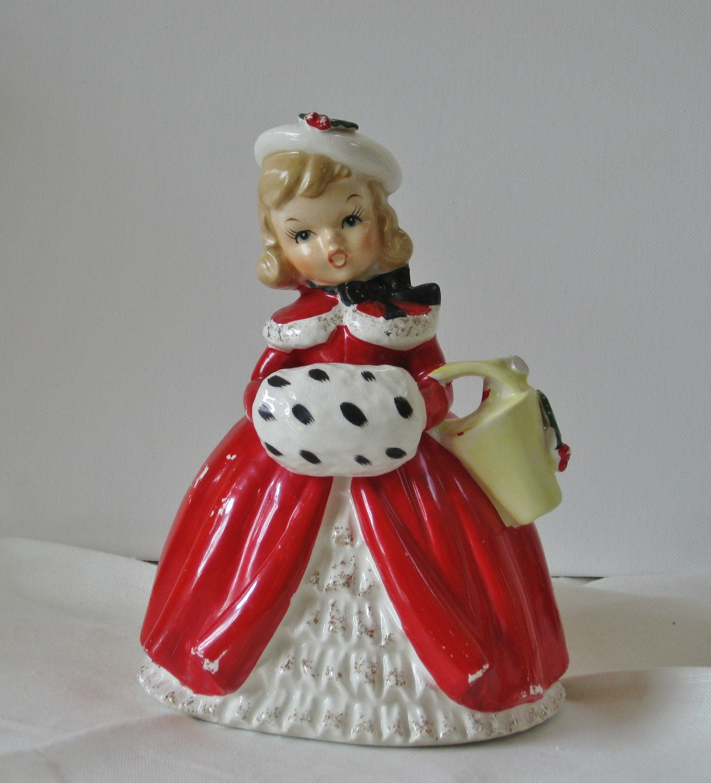 Vintage Napco Christmas Girl Caroler Planter Vase Red Coat