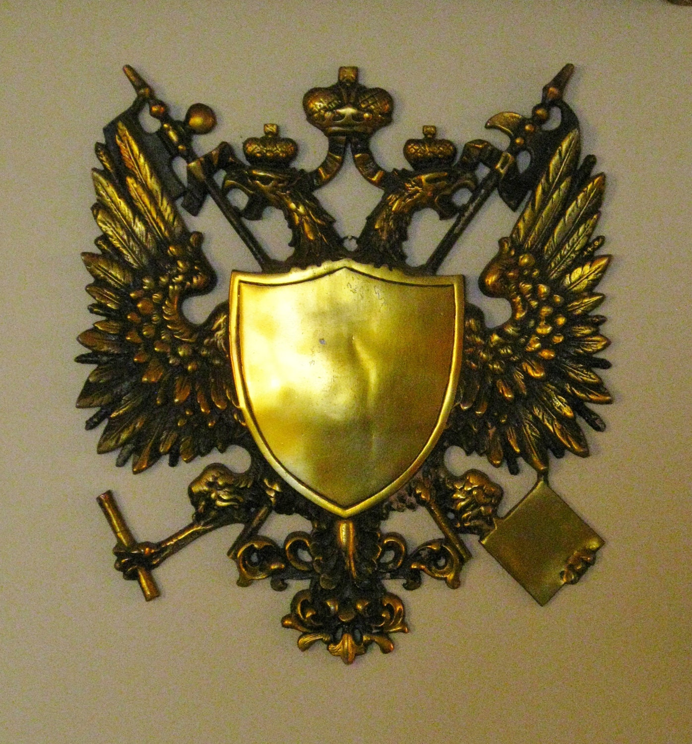 Vintage Coat Of Arms Crest Large Wall Hanging Plaque Cast