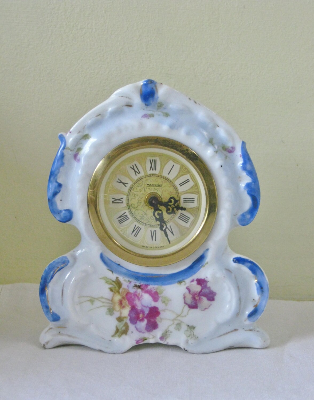 Vintage German Floral Clock Porcelain Blue And White Wind Up