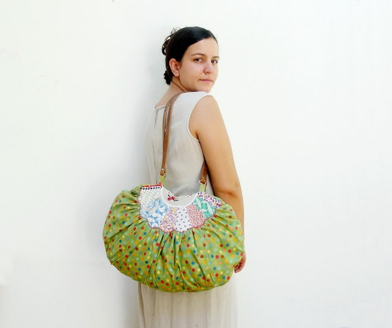 Happy Dots Bag - Hobo, vintage embroidery, patchwork, leather