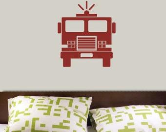 Fire Truck from the Front Lettering Wall Decal Original Graphics by Decomod Walls