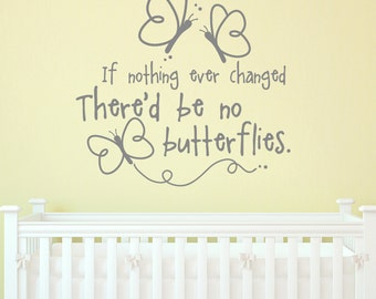 BUTTERFLIES Quote 24X22 Vinyl Lettering by Decomod Walls