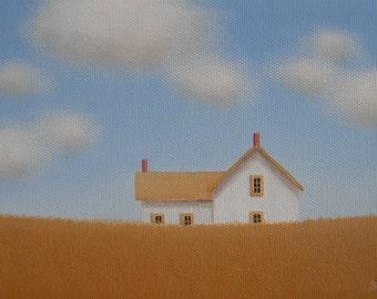 CUSTOM House PORTRAIT Painting 5 x 7 Small Fine Art Anniversary Cotton Birthday gift Folk Art Original Painting Cottage