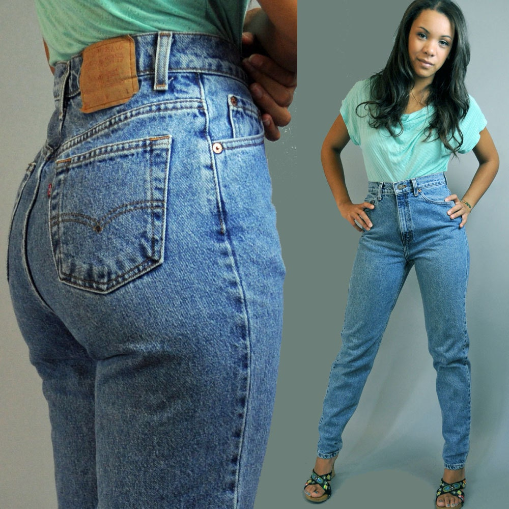 80s vintage high waisted jeans / distressed LEVI 521 denim