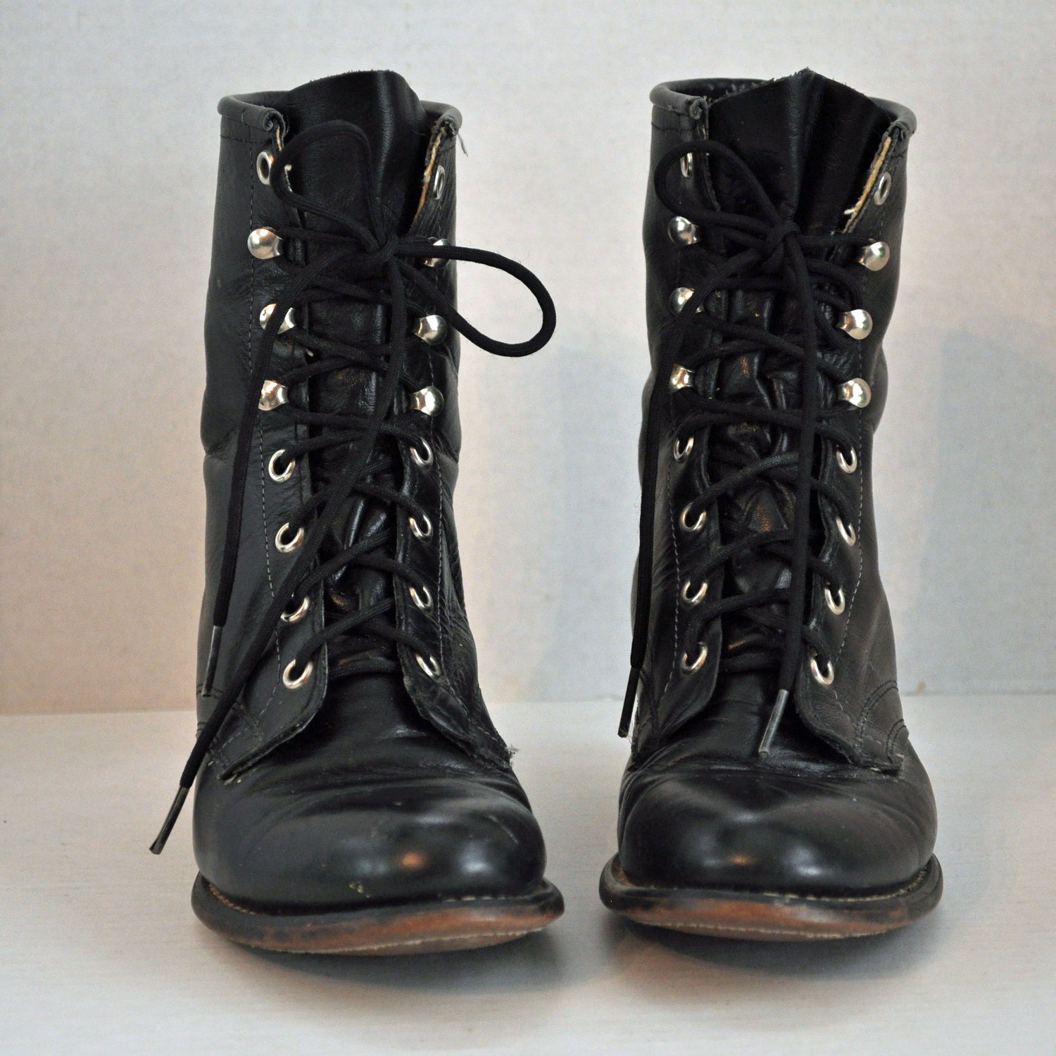 80s Vintage Lace Up Ankle Boots Distressed Black Leather