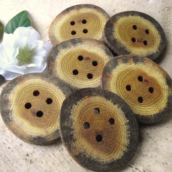 Wooden Buttons - 6 Rustic Ohio Osage Orange Wood Tree Root Buttons - 4 holes, 1 7/8 x 1 5/8 inches - For journals, purses, pillows, and more