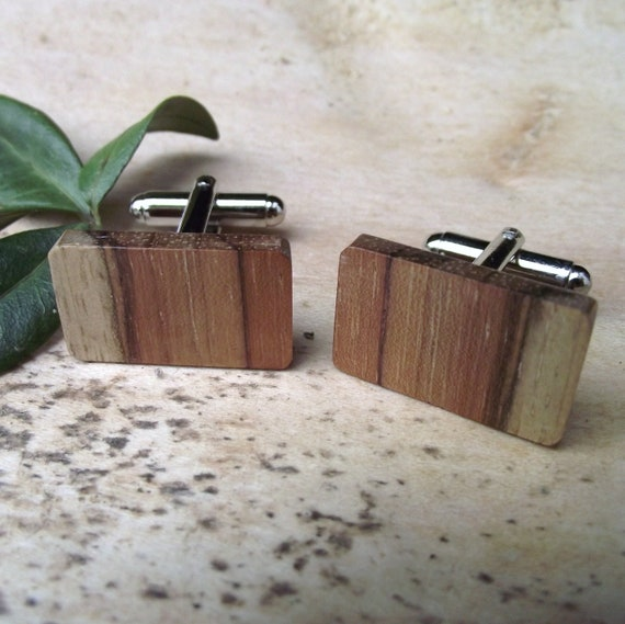 Wood Cuff Links - Handmade Wooden Cufflinks - For the Groom, Groomsmen, Father, or 5-Year Anniversary Gift - 7/8 x 1/2 inch