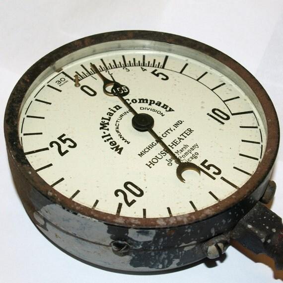 Very Cool Steampunk Boiler Pressure Gauge for your Rocket Ship, Fling Machine, control Panel  ...  L188