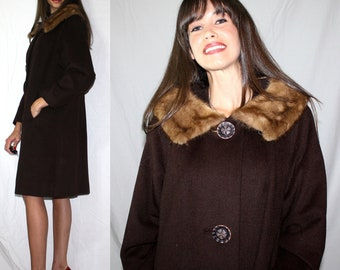 Vintage mink fur collar brown dress coat swing mod womens M L 60s 50s
