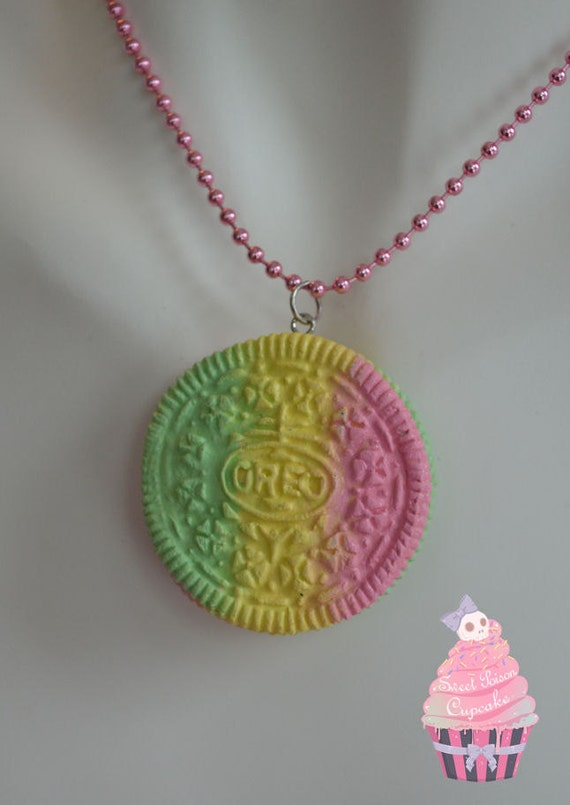 Rainbow Oreo Cookie Necklace (Green, Pink & Yellow)