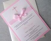 Baptism invitation, Pink invitation, baby baptism invitation, cross invitation, bow invitation
