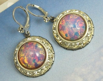 Fire Opal Earrings Iridescent Pink Vintage Glass with Crystal Rhinestones art deco earrings