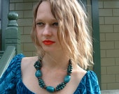 Tagua nut teal beaded necklace with acai berries/Virgin waters/tagua jewelry/ by Allie