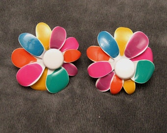 Colorful Vintage Flower Earrings