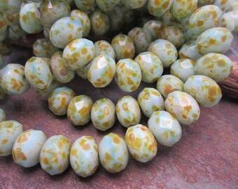 Speckled Aqua 6x8mm Rondells