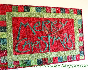 """MarveLes MERRY CHRISTMAS  """"Cheer Meister"""" Traditional Wall Hanging Red Green Silver Lime"""