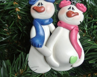 Personalized Snowman Family Expecting Pregnant Couple Christmas Ornament