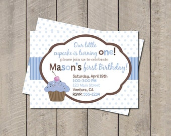 Cupcake Birthday Party Invitation - Blue & Brown Lil Cupcake Invitation - Digital Printable Invite