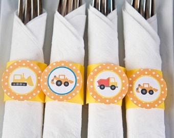 Construction Theme Birthday Party - Napkin Rings - Silverware Wraps - Construction Party Decorations (12)