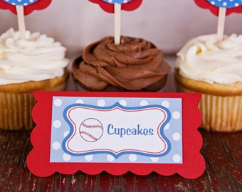Baseball Theme Food Tents - Menu Cards - Place Cards - Food Signs - Baseball Party & Shower Decorations in Blue and Red (6)