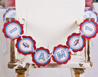Airplane Themed I AM 1 Happy First Birthday MINI BANNER  - Kids Airplane Party Decorations in Blue and Red
