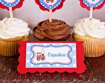 Train Theme Food Tents - Baby Shower Place Cards - Train Party Decorations Birthday or Shower in Blue and Red (6)