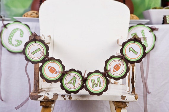 Football Themed Sports Birthday Banner -  I AM 1 MINI BANNER - Football Birthday Party Decorations in Green & Brown