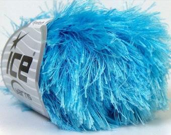 light blue eyelash yarn 22309 bulky chunky 50gr polyester ice yarns usa fancy fur craft rug 1 skein ships from usa at usps cost