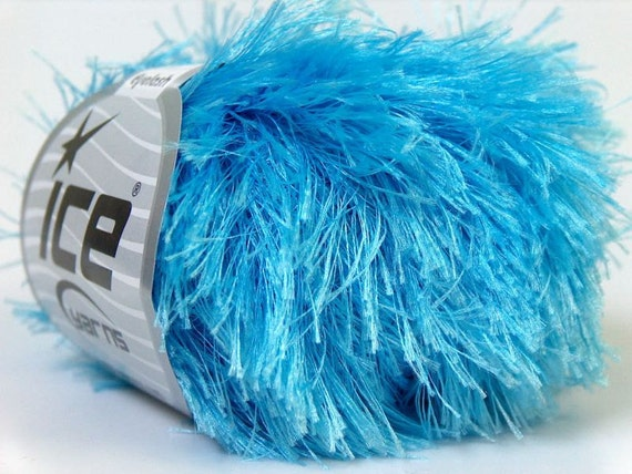 Eyelash Yarn : light blue eyelash yarn 22309 bulky chunky 50gr polyester ice yarns ...