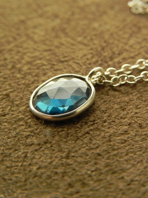 Faceted London Blue Topaz and Sterling Silver Delicate Pendant Necklace December Birthstone Small