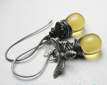 Honey Bee Jewelry Oxidized Silver Wire Wrapped Earrings