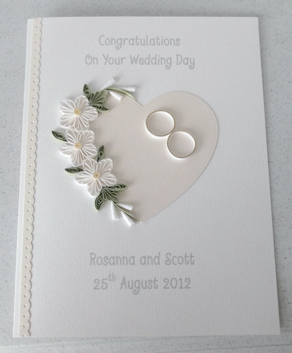 Quilled wedding card paper quilling personalized for Wedding day decorations