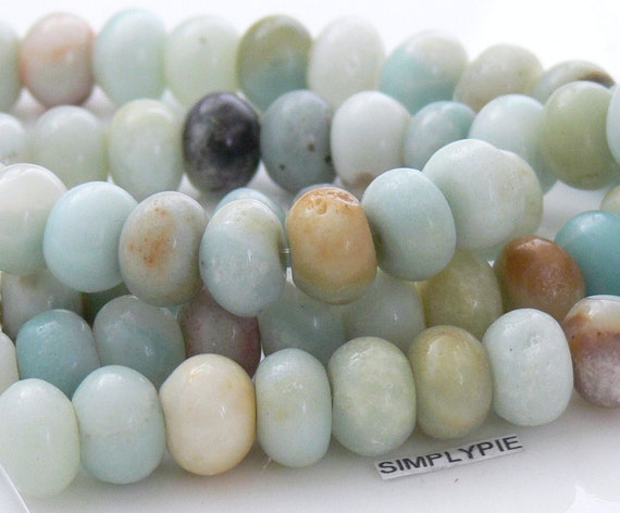 Chunky Rondelle Amazonite Gemstone beads 8-inch Strand - Pls use sale coupon and save.