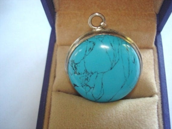 """Turquoise Jewelry 925 Silver Pendant 1.25"""""""