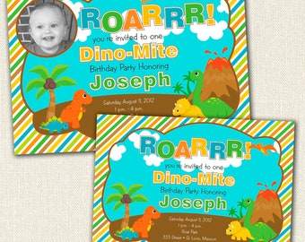 Dinosaur Birthday Party Invitation With or Without  A Photo