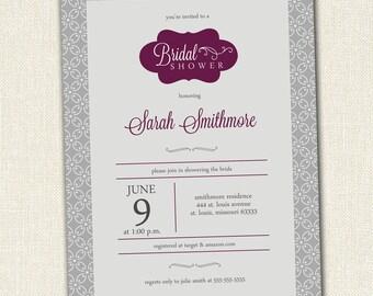Bridal Shower Invitation, Elegant Modern Vintage Printable
